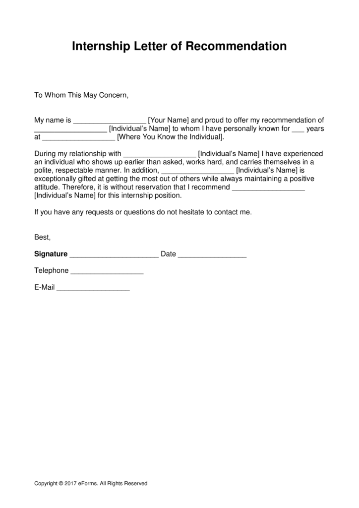 example recommendation letter templates