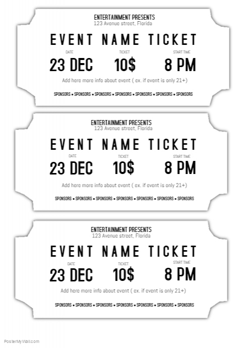 picture relating to Free Printable Tickets Template named Totally free Celebration Ticket Templates Templates Down load