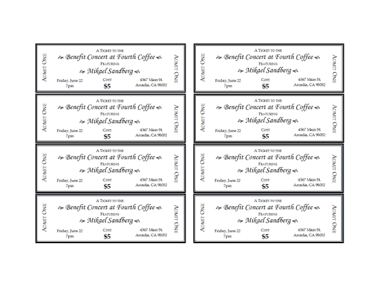 Printable Ticket Templates Templates Download